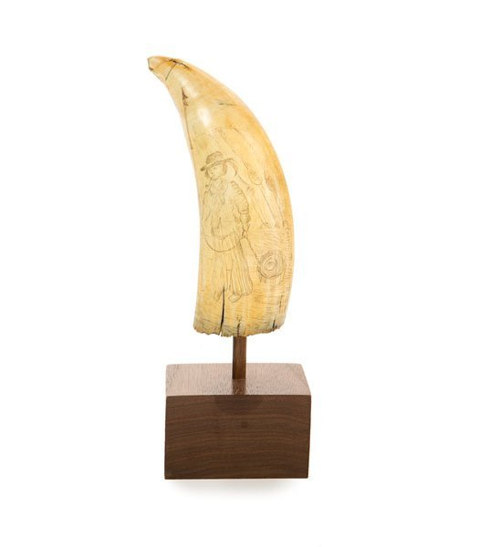 Scrimshaw Whale's Tooth with Harpooner