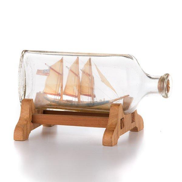 Small Model Ship in Glass Bottle