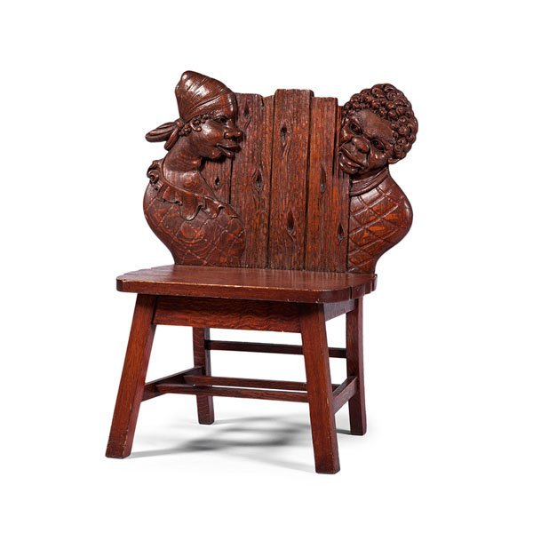 Unusual Carved Oak Seat with African American Figures