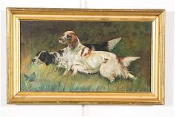 Oil Painting of Setters on the Hunt