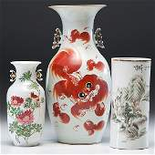 Republic Period Baluster Vases and Brushpot