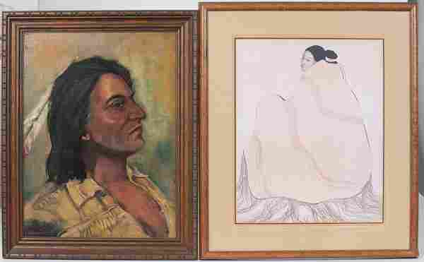 American Indian Prints, Cast Paper and Oil Painting