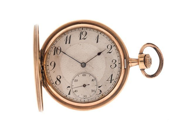 Movado Hunter-Case 14 Karat Yellow Gold Pocket Watch