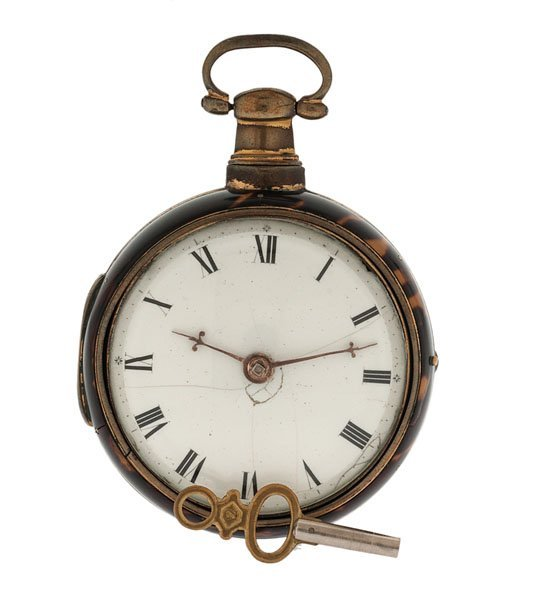 James Berry Tortoise Shell Paired-Case Pocket Watch