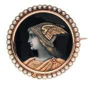 Cameo Brooch Depicting Hermes in 18 Karat