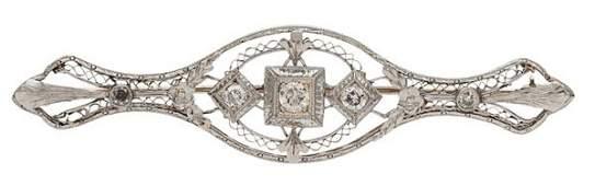 Platinum and 18 Karat Gold Brooch with Diamonds