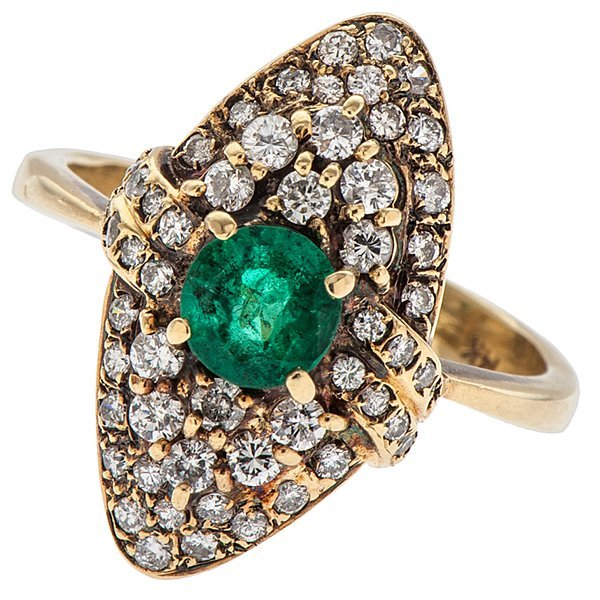 Emerald and Diamond Cluster Ring in 14 Karat