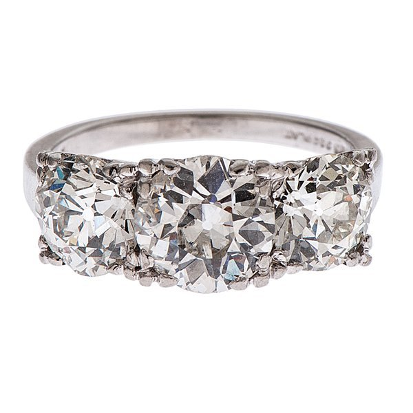 Platinum and Diamond Three-Stone Ring