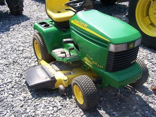 76: John Deere GX 345 L&G Tractor Mower w/ 127 hours! N