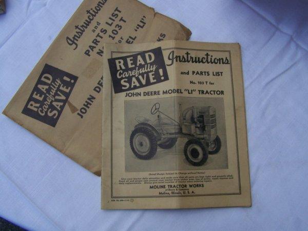 3003: John Deere LI Antique Tractor Parts List Manual