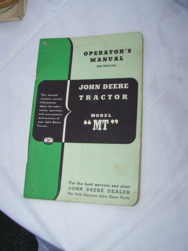 3005: John Deere MT Antique Tractor Owners Manual
