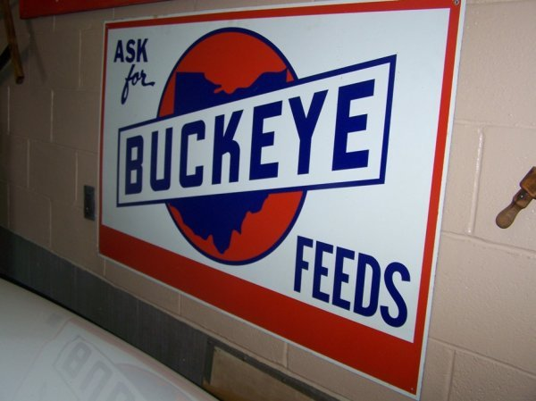 3021: Buckeye Feed Metal Advertising Sign