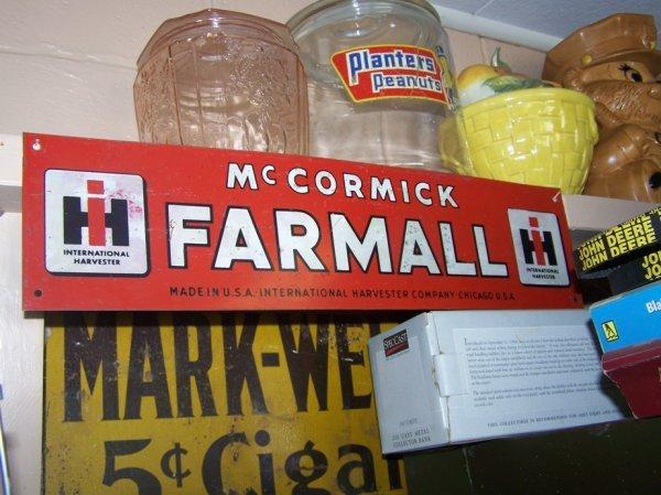 3023: Metal McCormick Farmall Farm Tractor Sign