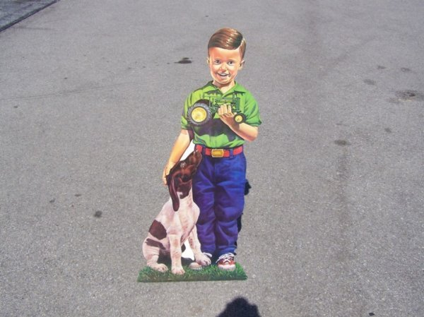 3024: John Deere Boy with Dog and Tractor Cut Out