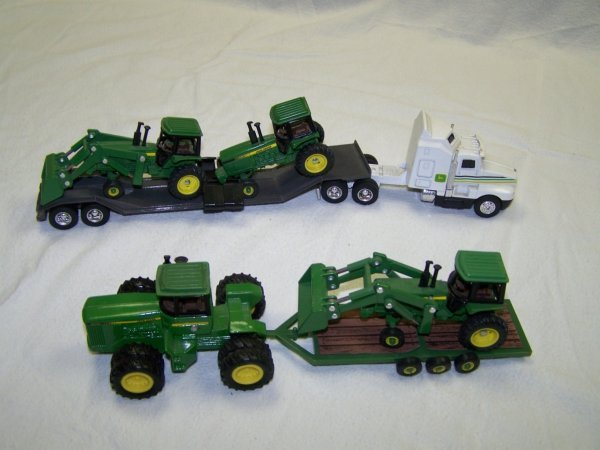 4: Ertl Toy John Deere Tractors and Kenworth Truck