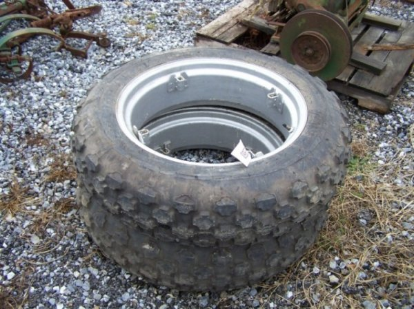 2053: Very Nice Farmall Cub 9.5-24 Turf Tires & Rims - 2
