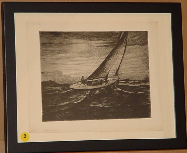 3: Max Kuehne (1880-1968) sailboat Marine etching