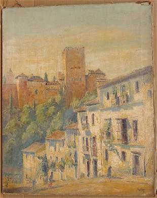 15: Max Kuehne (1880-1968) Post Impressionist Oil Spain