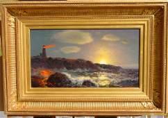 155: James Gale Tyler (1855-1931) Marine Lighthouse oil
