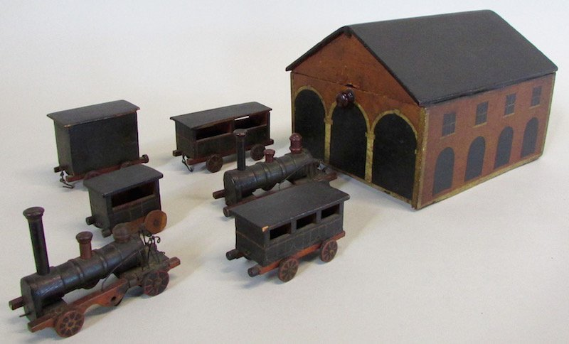 19th C. Childs Wooden Train Station