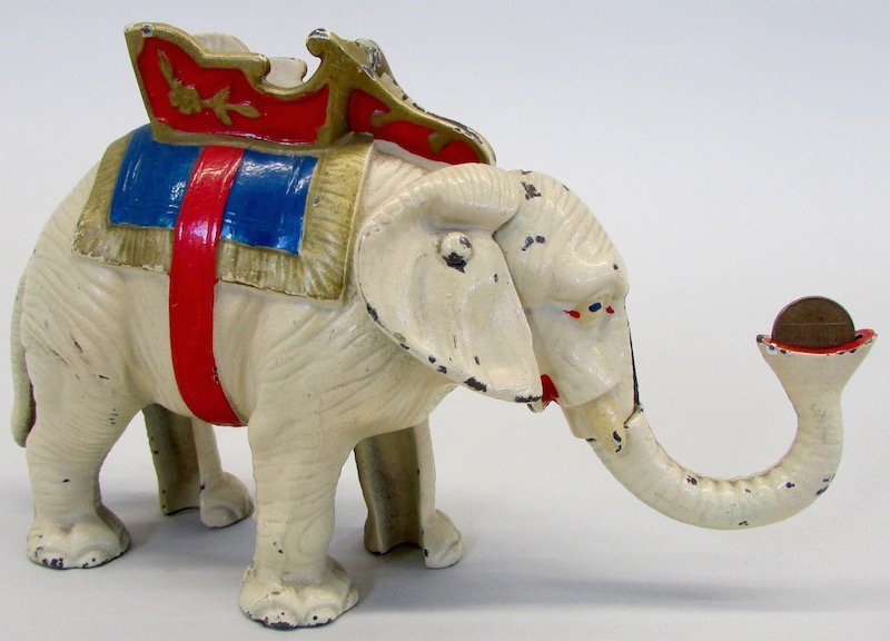 Hubley Cast Iron Mechanical Elephant Bank - 2