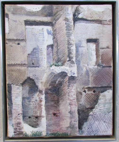 """Richard Haas, """"The Baths at Canacalla"""" Original Oil"""