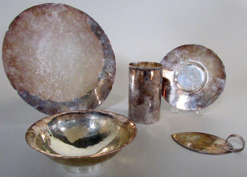 Five Hand Hammered Silver Tablewares