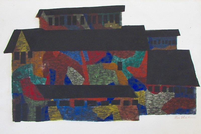 """Ben Shahn Hand Colored Stencil """"Mine Building"""""""