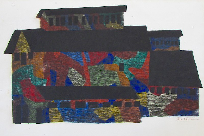"Ben Shahn Hand Colored Stencil ""Mine Building"""