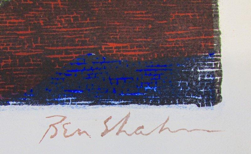 """Ben Shahn Hand Colored Stencil """"Mine Building"""" - 2"""