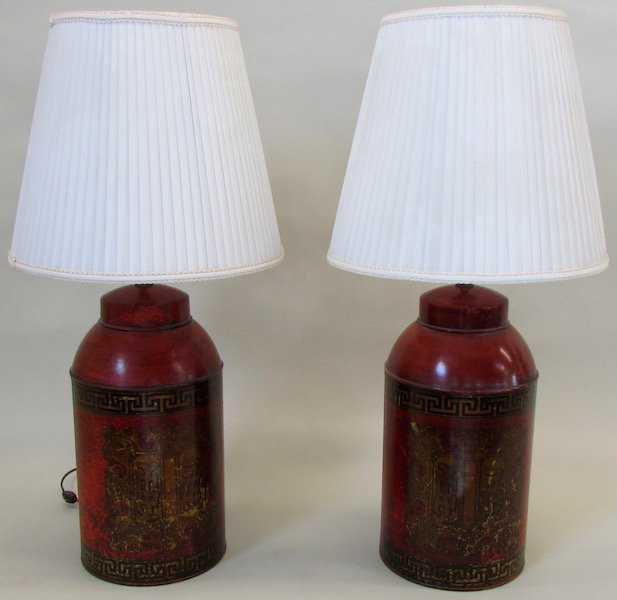Pair of Tea Cannisters now fitted as Lamps