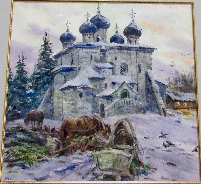 """Yuri Rebrov """"Church, Archangel"""" Watercolor, 1983"""