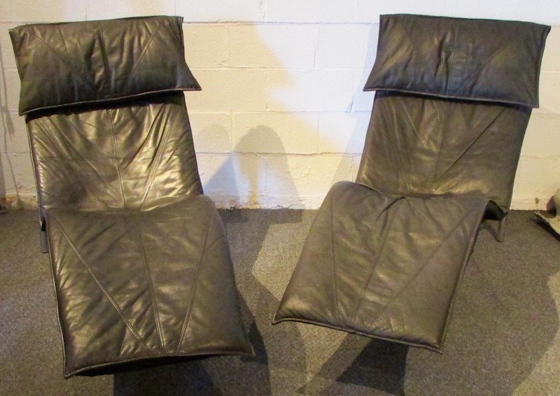 Pair Leather Tord Bjorklund Recliners
