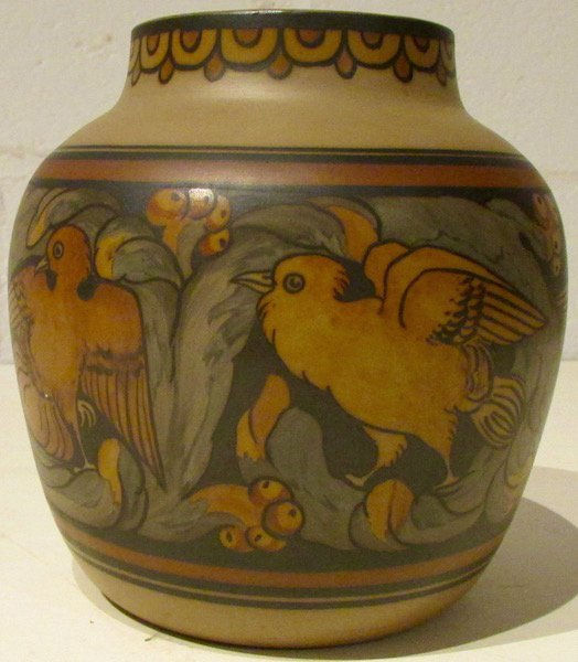 L. Hjorth Bornholm Pottery Small Vase with Birds