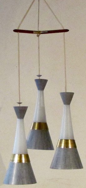 Danish Mid-Century 3 Light Chandelier