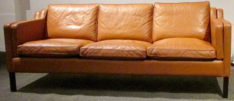 Stouby 3 Section Leather Couch, 1980's