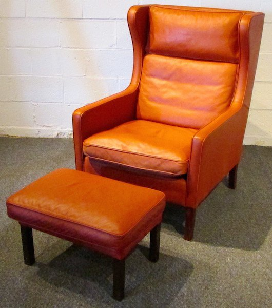 Stouby Leather WingChair and Ottoman, 1970's