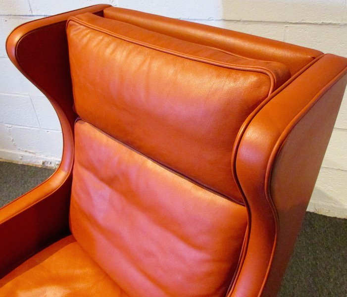 Stouby Leather WingChair and Ottoman, 1970's - 2