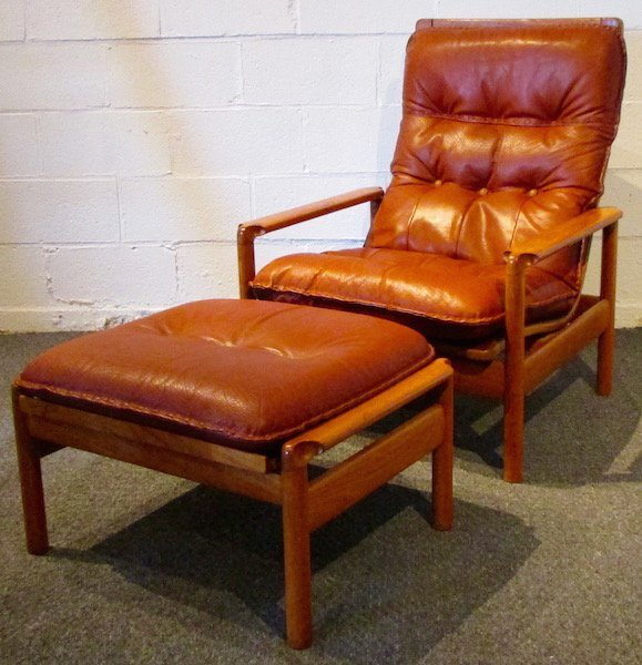 Danish Teak and Leather Reclining Chair and Ottoman