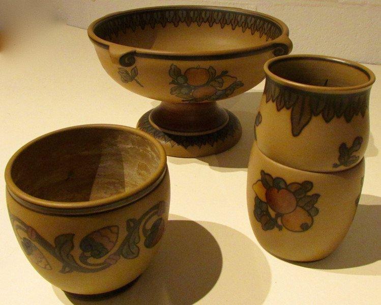 L. Hjorth Bornholm Pottery Vase, Compote and Jar