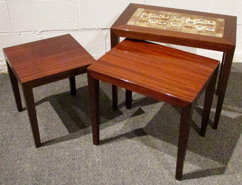 Three Rosewood Royal Copenhagen Tile-Top Nesting Tables