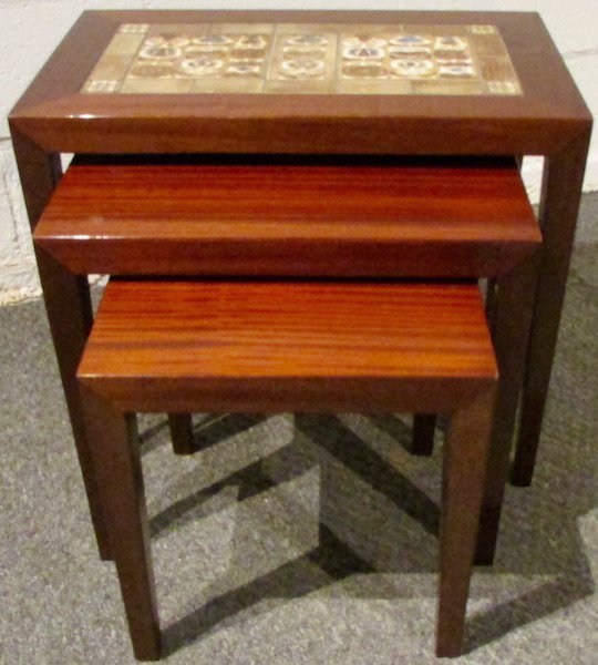 Three Rosewood Royal Copenhagen Tile-Top Nesting Tables - 2