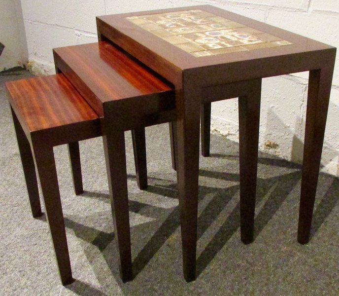 Three Rosewood Royal Copenhagen Tile-Top Nesting Tables - 3