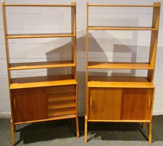 2 Danish Open Teak Bookcases