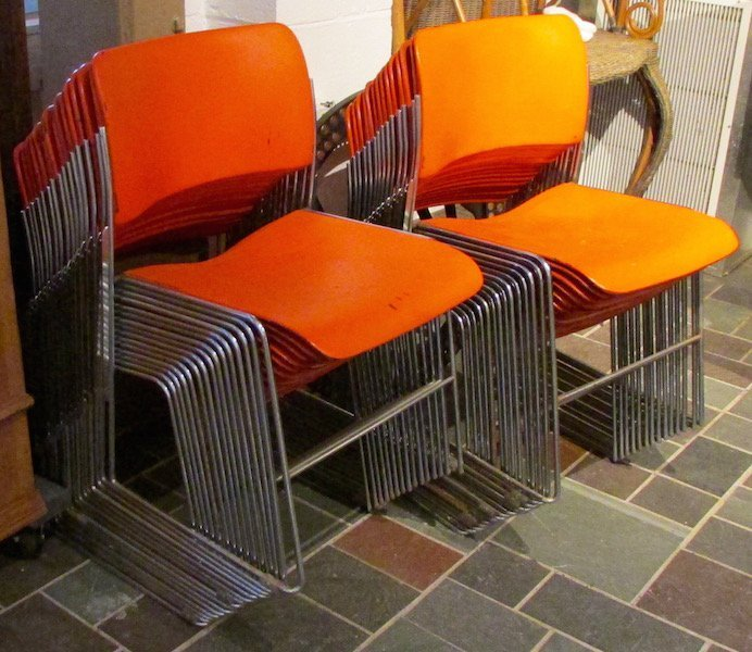29 Chrome and Painted Metal Stacking Chairs by G/F