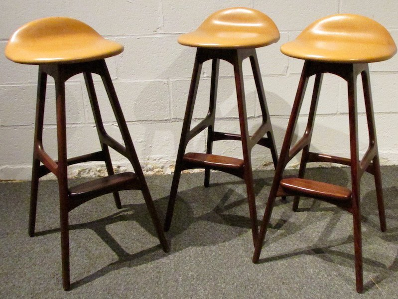 3 Erik Buch Rosewood Barstools with Leather Seats