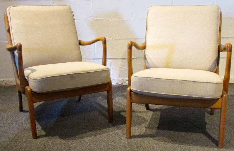 Pair of Danish Oak Upholstered 1970's Open Armchairs