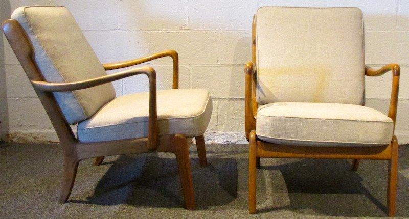 Pair of Danish Oak Upholstered 1970's Open Armchairs - 2