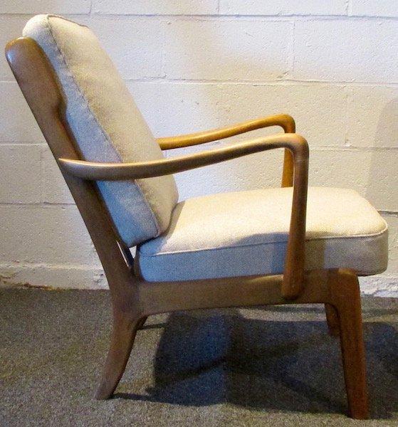 Pair of Danish Oak Upholstered 1970's Open Armchairs - 3