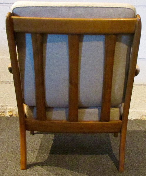 Pair of Danish Oak Upholstered 1970's Open Armchairs - 4